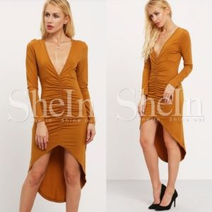 SHEIN Brown Long Sleeve Asymmetric Dress SIZE S